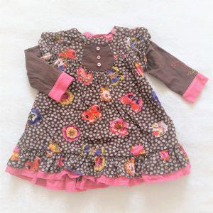 Robe velours marron rose fleurs bébé fille 9 MOIS CATIMINI