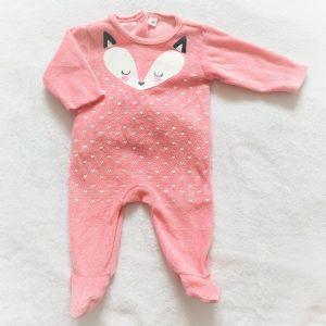 Pyjama velours rose renard cœurs bébé fille 1 MOIS