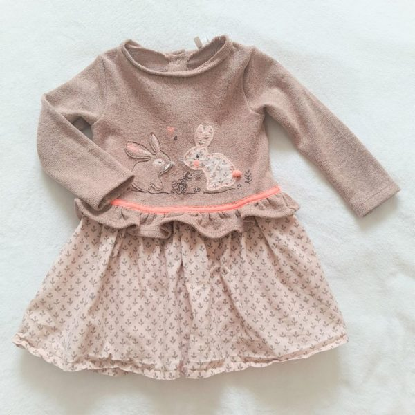 Robe crème rose Lapins bébé fille 18 MOIS ORCHESTRA