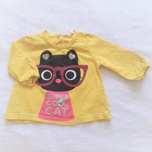 T-shirt jaune chat Super cool cat bébé fille 3 MOIS