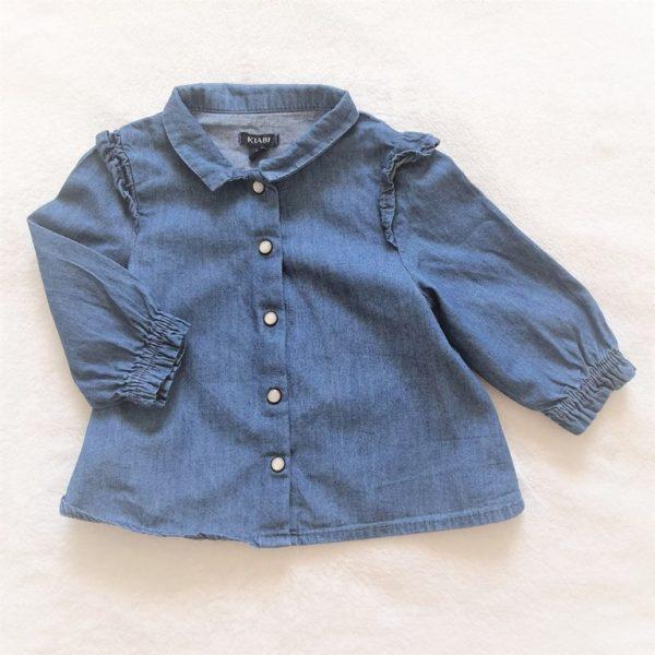 Chemise manches longues en jean bleu bébé fille 6 MOIS