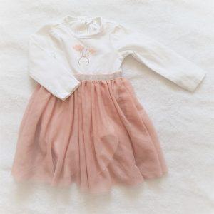 Robe body blanc et tulle vieux rose bébé fille 6 MOIS ORCHESTRA