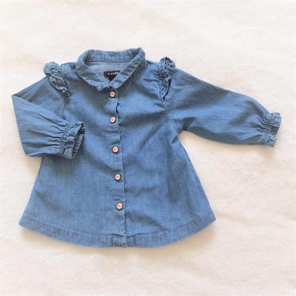 Chemise manches longues en jean bleu bébé fille 1 MOIS