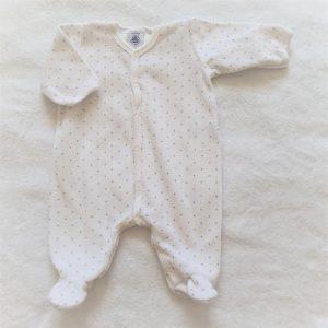 Pyjama velours blanc gris étoiles bébé fille 1 MOIS PETIT BATEAU