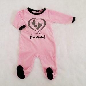 Pyjama velours rose et noir «with you forever» bébé fille 6 MOIS