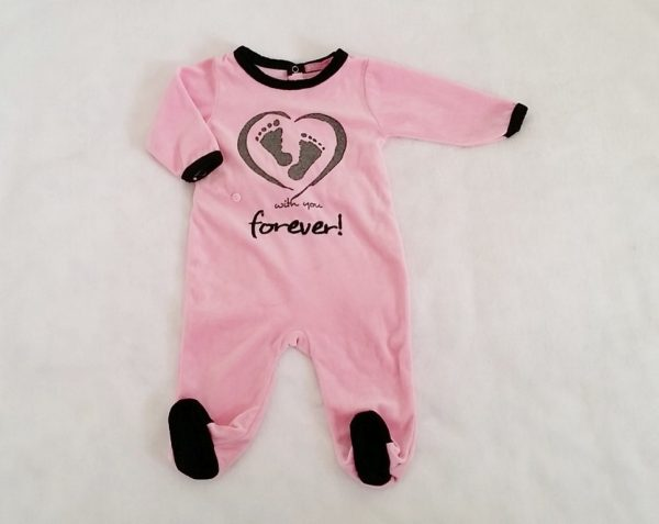"Pyjama velours rose et noir ""with you forever"" bébé fille 6 MOIS"